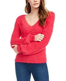 Juniors' Balloon-Sleeve Eyelash Sweater
