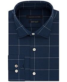 Men's Slim-Fit Non-Iron THFlex Stretch Windowpane Check Dress Shirt