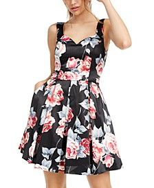 Juniors' Floral-Print Fit & Flare Dress