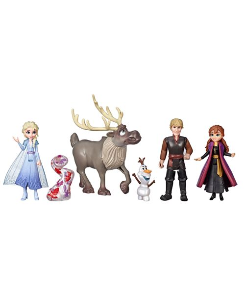 Frozen Disney Adventure Collection, 5 Small Dolls from Frozen 2 Movie, Anna, Elsa, Kristoff, Sven, Olaf, and Gale Accessory