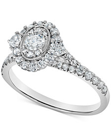 Diamond Oval Halo Engagement Ring (3/4 ct. t.w.) in 14k White Gold