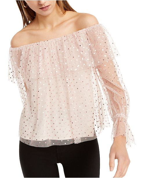INC International Concepts INC Off-The-Shoulder Shine-Dot Top, Created For Macy's