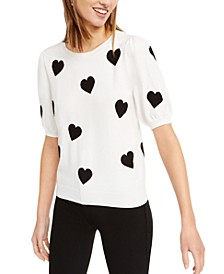 INC Intarsia Heart Short-Sleeve Sweater, Created For Macy's