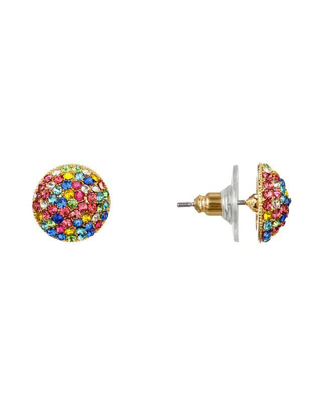 Nina Pave Button Stud Earrings