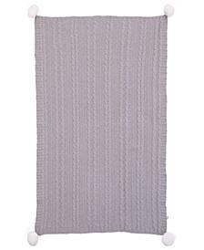 Ellen DeGeneres Chenille Cable Knit Baby Blanket with Pom Poms
