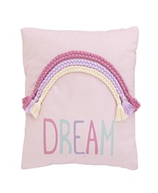 "Watercolor Rainbow ""Dream"" Decorative Pillow"