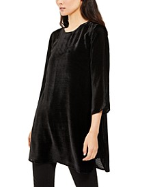 Texture-Striped Velvet Tunic