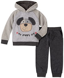 Little Boys 2-Pc. Dog Appliqué Fleece Hoodie & Sweatpants Set