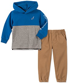 Little Boys 2-Pc. Colorblocked Fleece Logo Hoodie & Twill Pants Set