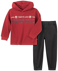 Little Boys 2-Pc. Logo-Print Thermal-Knit Hooded T-Shirt & Twill Pants Set