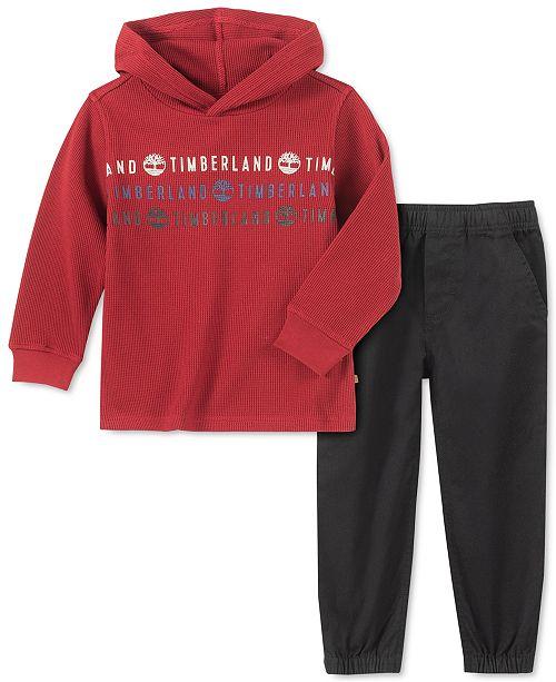 Timberland Little Boys 2-Pc. Logo-Print Thermal-Knit Hooded T-Shirt & Twill Pants Set