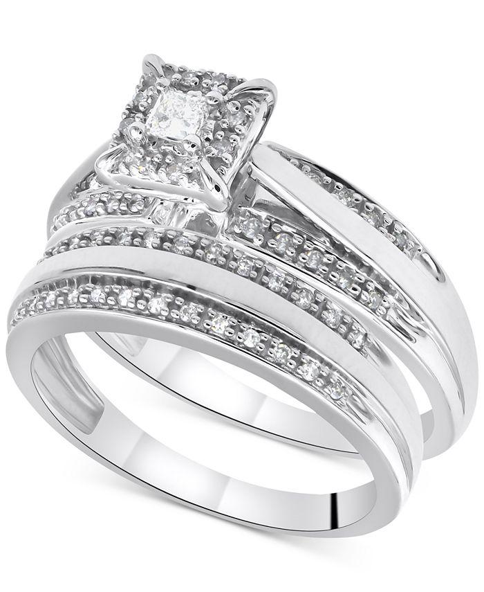 Macy's - Diamond Princess Bridal Set (1/3 ct. t.w.) in 14k White Gold