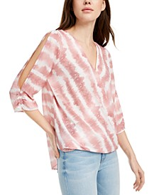 Juniors' Tie-Dyed Wrap Top