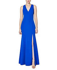 Cutout Slit Crepe Gown