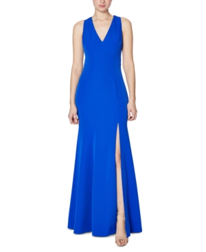 Laundry By Shelli Segal Tops LAUNDRY BY SHELLI SEGAL CUTOUT SLIT CREPE GOWN