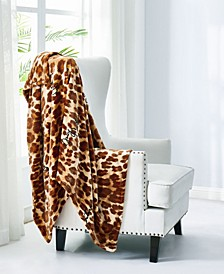"Juicy Couture Regent Leopard 50"" x 70"" Plush Throw"