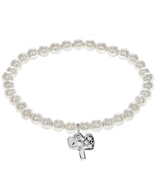 Children's Crystal Charms Pearl Stretch Bracelet in Sterling Silver