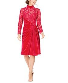 Lace & Velvet Sheath Dress