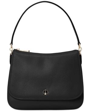Kate Spade Medium Polly Leather Shoulder Bag - Black In Black/Gold