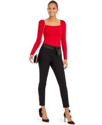 INC Bow-Detailed Tapered Ankle Pants, Created For Macy's