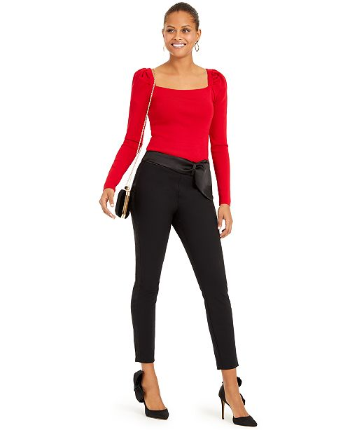 INC International Concepts INC Puff Sleeve Top & Bow-Detail Tapered Ankle Pants, Created For Macy's