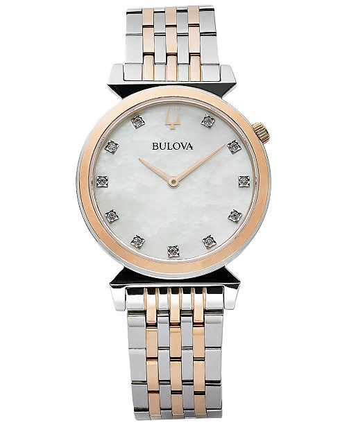 Bulova Women's Regatta Diamond-Accent Two-Tone Stainless Steel Bracelet Watch 30mm