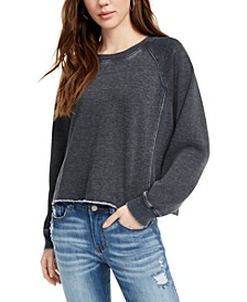 Juniors' Cropped Raw-Edged Sweatshirt
