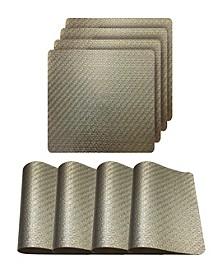"Metallic Basketweave Parquet Slip Resistant 15"" Placemats - Set of 4"