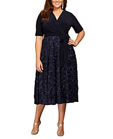 Plus Size Surplice Rosettes Dress