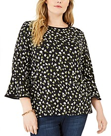 Plus Size Floral-Print Bell-Sleeve Top