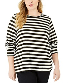 Plus Size Striped Crewneck T-Shirt