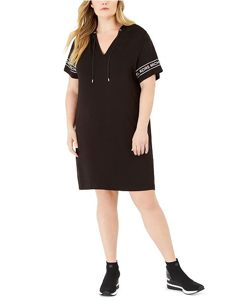 Michael Kors Plus Size Logo Hooded T-Shirt Dress