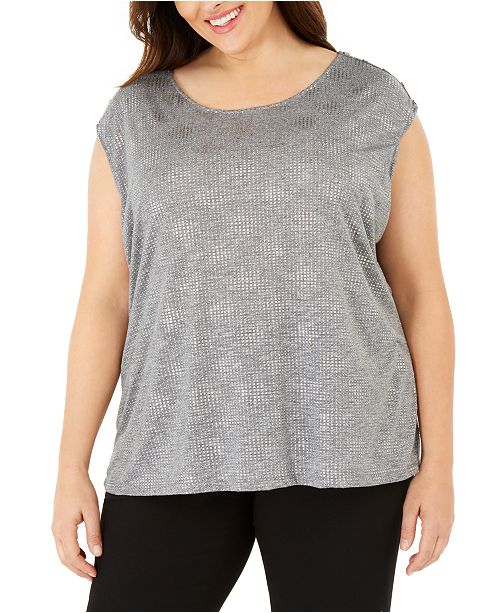 Calvin Klein Plus Size Studded Sleeveless Top