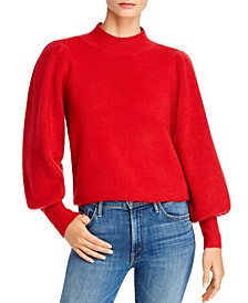 Mock-Neck Puff-Sleeve Sweater