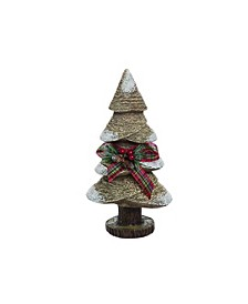 Resin Small Brown Christmas Rustic Tree with Bow