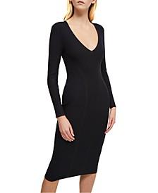 Deep-V-Neck Ribbed Bodycon Dress