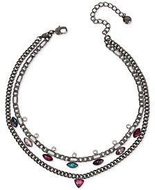 """Hematite-Tone Multi-Crystal Double-Row Convertible Necklace, 14"""" + 3"""" extender"""