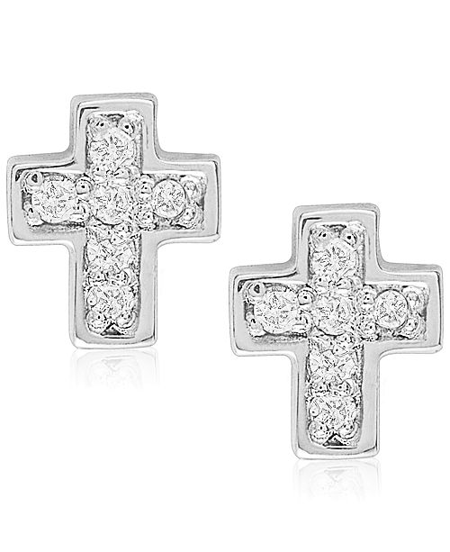 Rhona Sutton Children's Diamond Accent Cross Stud Earrings in Sterling Silver