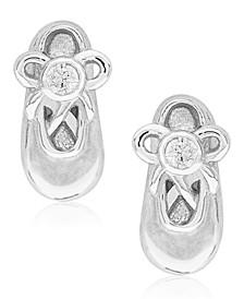Children's Diamond Accent Ballet Slipper Stud Earrings in Sterling Silver