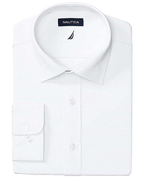 Nautica Men's Slim-Fit Comfort Stretch White Solid Dress Shirt