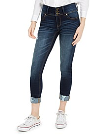 Juniors' Mid Rise Triple-Button Cuffed Skinny Jeans