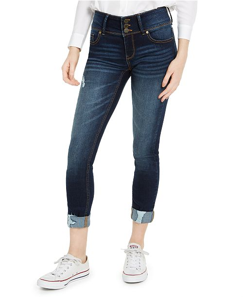 Indigo Rein Juniors' High-Waisted Triple-Button Cuffed Skinny Jeans