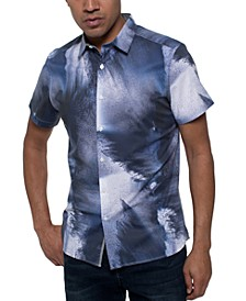 Men's Stretch Crashing Wave-Print Shirt