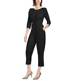 Puff Shoulder Cropped Jumpsuit