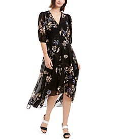 Printed Chiffon Surplice Dress