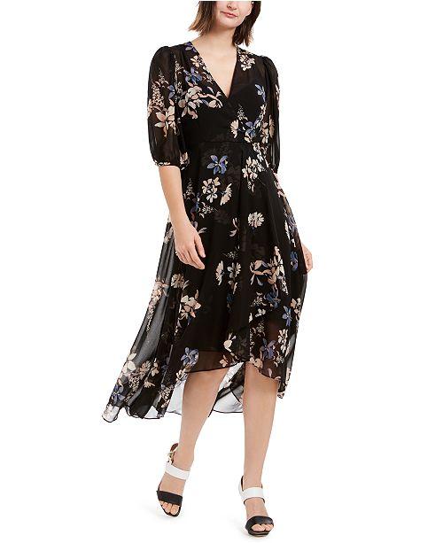 Calvin Klein Printed Chiffon Surplice Dress