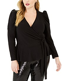 INC Plus Size Puff-Shoulder Wrap Top, Created For Macy's