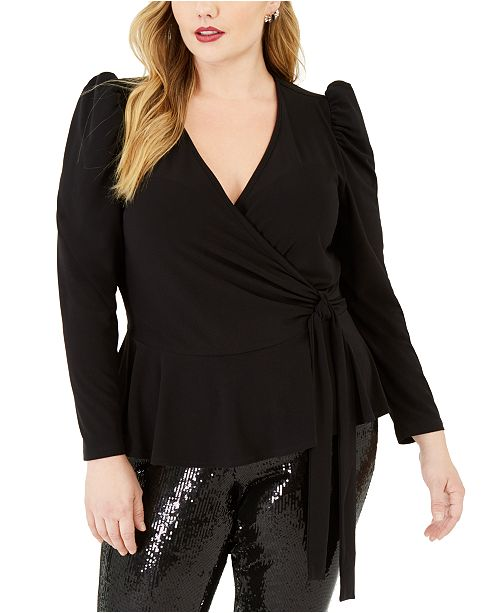 INC International Concepts INC Plus Size Puff-Shoulder Wrap Top, Created For Macy's