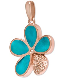 "Blue Mother-of-Pearl & White Sapphire (1/3 ct. t.w.) Flower 21"" Pendant Necklace in Rose Gold-Plated Sterling Silver"