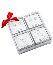 4-Pc. Set Cubic Zirconia Heart Pendant Necklace, Heart Bracelet & Round Stud Earrings Set in Sterling Silver, Created for Macy's